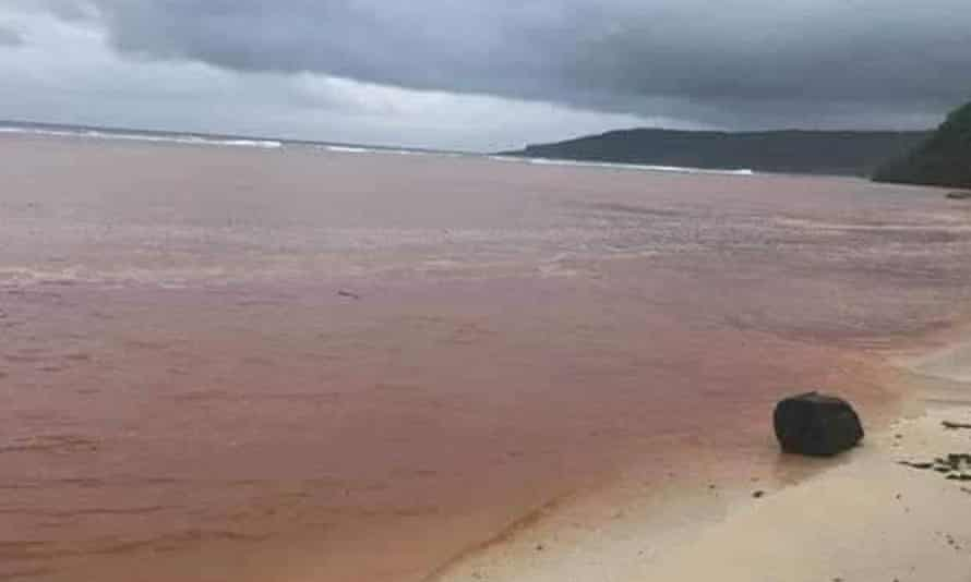 A major bauxite spill has turned water red at Rennell Island in the Solomon Islands