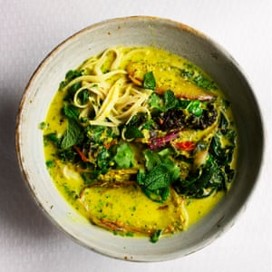 Noodles with coconut and greens.