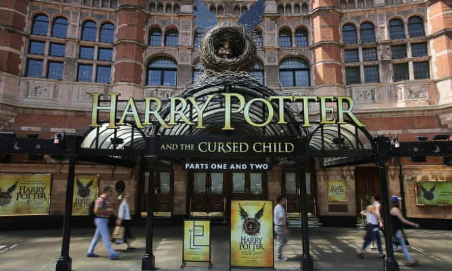 The front of the Palace Theatre in London promoting the Harry Potter play