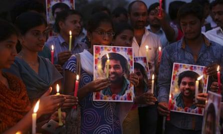 Dalit activists hold a candlelit vigil for Indian student Rohith Chakravarti Vemula