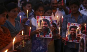 'My birth is my fatal accident': a vigil in Hyderabad following the suicide of Rohith Vemula in January 2016.
