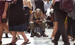 A man begging in Sydney