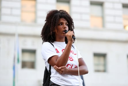 Tianna Arata speaks at a Black Lives Matter protest in Los Angeles.