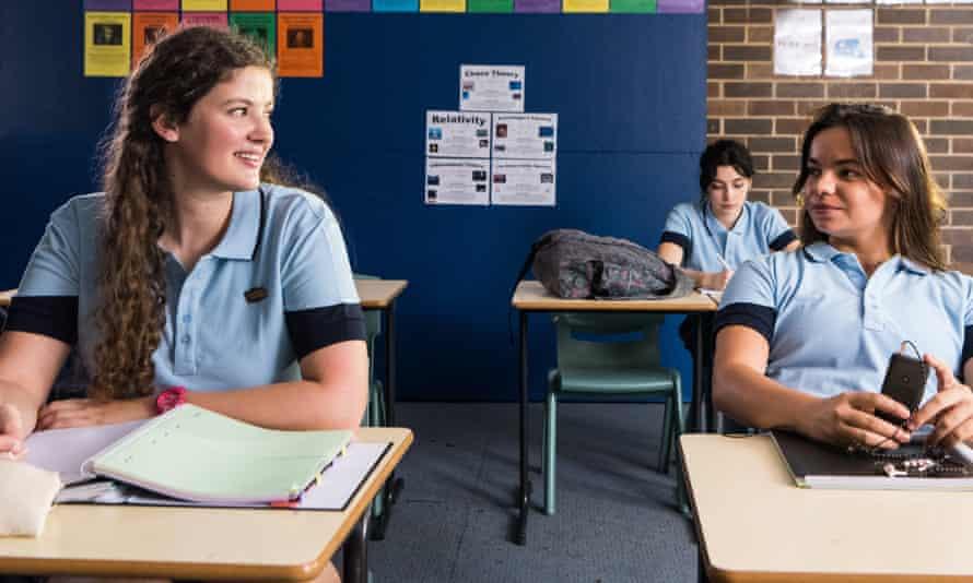 Teenage high school girls in classroom