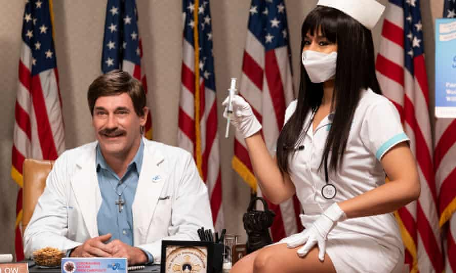 Psycho-absurdist trepan into the overheated mind of 2020 America ... Jon Hamm and Sarah Cooper.