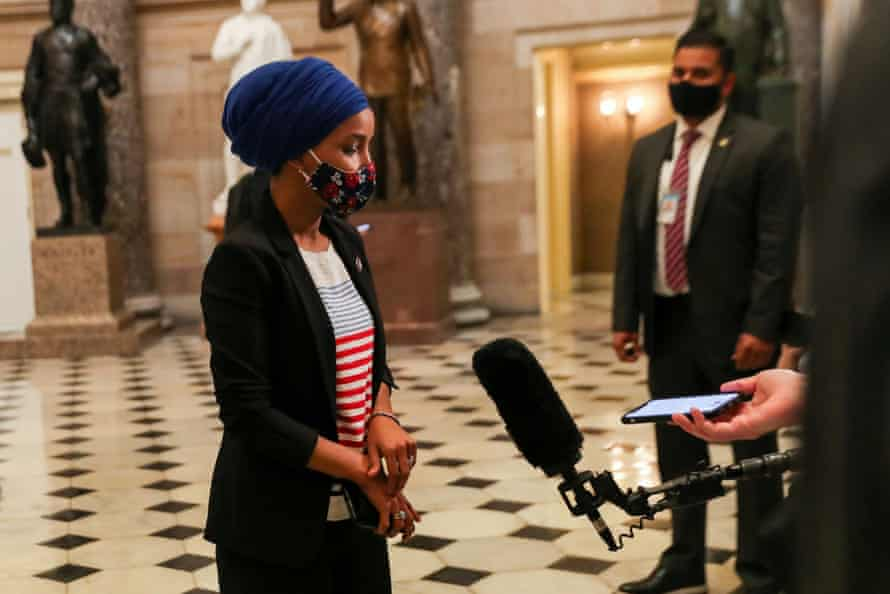 Ilhan Omar speaks to the media at the US Capitol, as Democrats debate one article of impeachment against Donald Trump on 13 January.