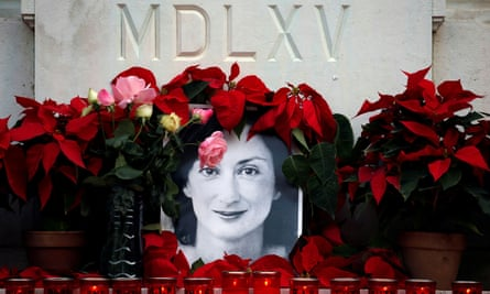 A tribute to the anti-corruption journalist Daphne Caruana Galizia in Valletta, Malta.