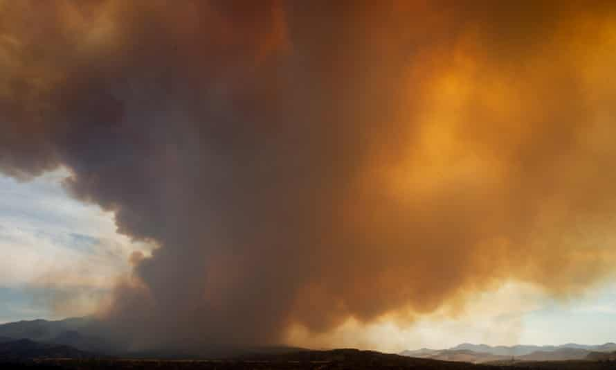 Smoke rising from the Telegraph Fire above Blue Lake, Arizona on Monday.