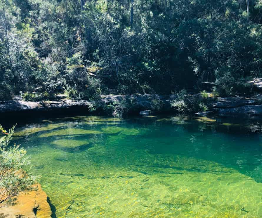 A photograph of the blue-green Karloo Pools in the Royal National Park, Sydney