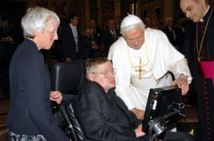 Stephen Hawking meeting Pope Benedict XVI in 2008