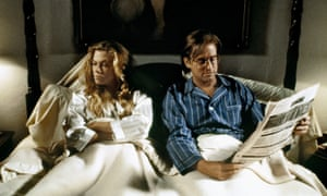 Kathleen Turner and Michael Douglas in The War of the Roses, 1989, based on the novel by Warren Adler about a divorcing couple who strive to make each other's lives as miserable as possible.