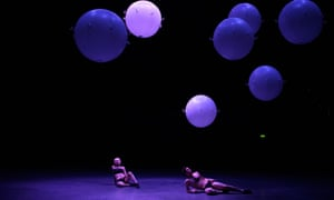 Dancers Rebecca Bassett-Graham and Calvin Richardson perform in Wayne McGregor's Dance piece in the installation +/- Human at the Roundhouse.