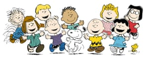 Peanuts characters (from left) Pigpen, Peppermint Patty, Schroeder (back) Linus, Franklin (back) Snoopy, Charlie Brown, Sally (back) Lucy, Marcie and Woodstock