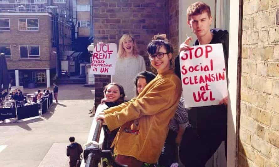 Students campaigning against the cost of accommodation at UCL.
