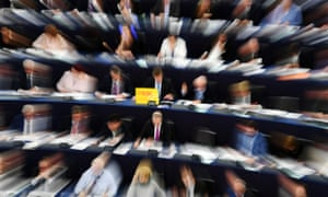 MEPs take part in a voting session on changes to EU copyright law at the European parliament