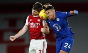 Chelsea's Reece James and Arsenal's Kieran Tierney Pool go up for a header.