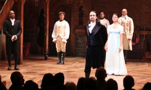 Lin-Manuel Miranda with the cast of Hamilton during the Broadway opening night.