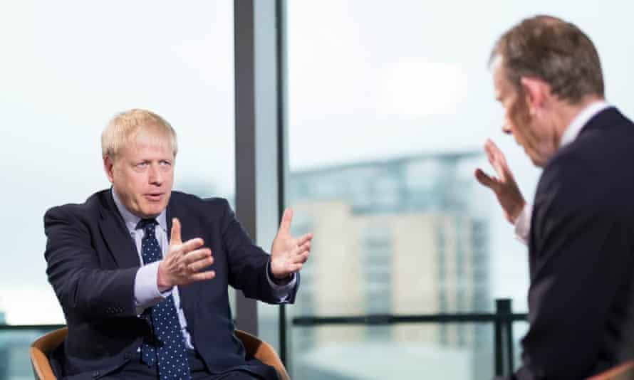 UK prime minister Boris Johnson on The Andrew Marr Show.