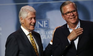 Bill Clinton and Jeb Bush at the University of New England in Biddeford, Maine.