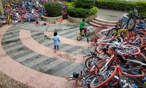 The dumped bikes in Shenzhen.