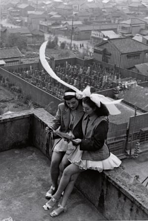 Dancers resting on the rooftop of the SKD Theatre Asakusa, Tokyo, 1949.