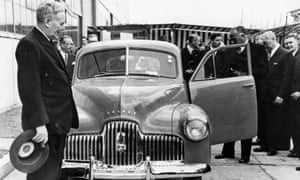 Ben Chifley, then Australian prime minister, at the 1948 launch of 'Australia's own car', the General Motors Holden 48-215 (often referred to as the Holden FX). General Motors says it will 'retire' the Holden brand by 2021.