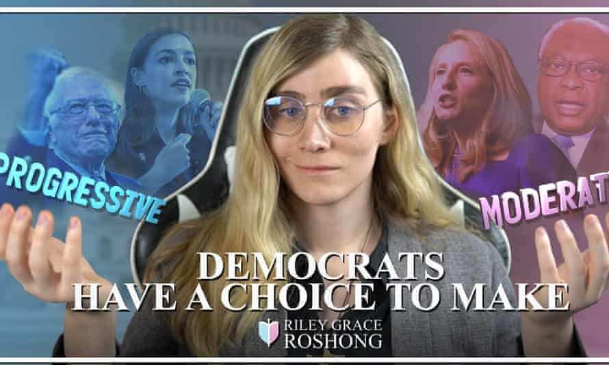 """Riley Grace Roshong, a social media activist, appears above text that reads """"Democrats have a choice to make"""""""