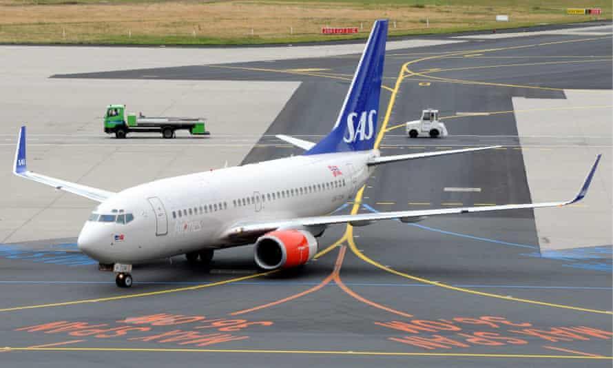 An aeroplane at Frankfurt airport.
