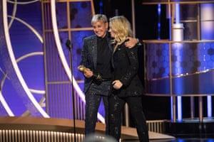 Kate McKinnon presenting the Carol Burnett award for outstanding contributions to television to Ellen DeGeneres