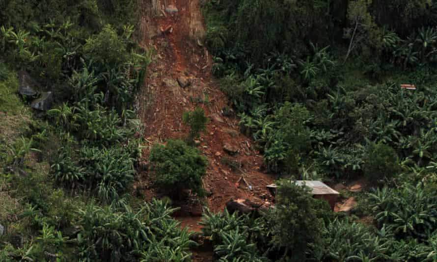 A landslide in the Ngangu township which was damaged by Cyclone Idai in Chimanimani, Zimbabwe.