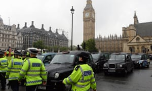 London taxi drivers block the roads in protest against Uber