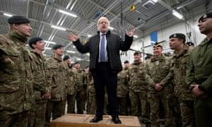 Boris Johnson speaks to British troops