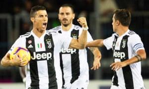 Cristiano Ronaldo celebrates after scoring the equaliser for Juventus