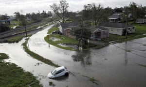 Flooded streets in Kenner, Louisiana