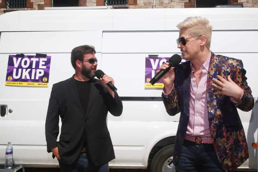 Ukip European election candidate Carl Benjamincampaigns with former Breitbart journalist Milo Yiannopoulos