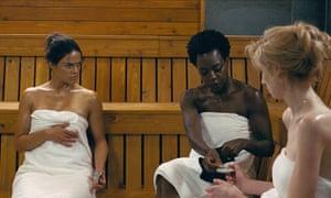 Michelle Rodriguez, Viola Davis and Elizabeth Debicki in Widows.