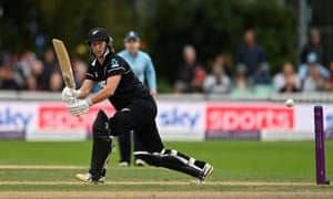 Brooke Halliday plays a shot as New Zealand chase a revised target of 183.