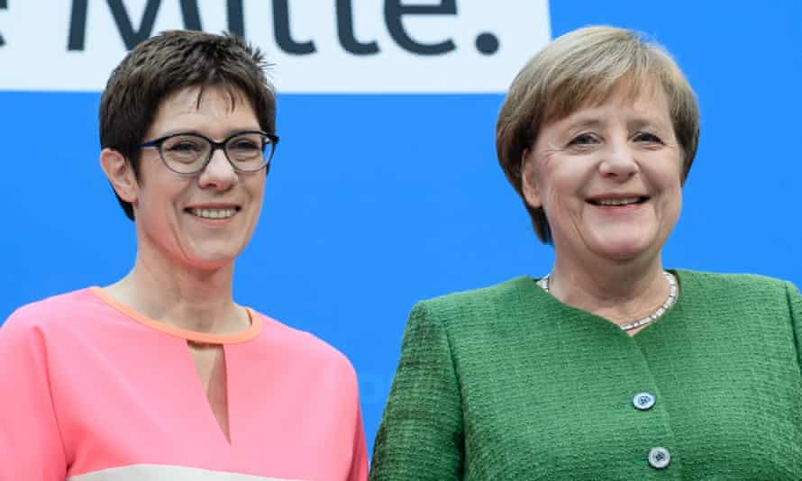 Annegret Kramp-Karrenbauer, (L), is among the likely candidates to succeed Angela Merkel.