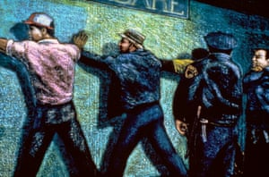 Men Against the Wall, 1983, oil stick on canvas