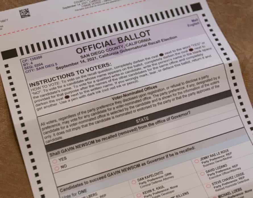 california recall ballot