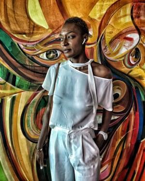 Hairstylist Nabou Dieng poses for a portrait near Dakar, November 2018