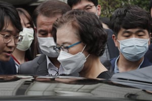 Seoul, South Korea Lee Myung-hee, the widow of the former Korean Air chairman Cho Yang-ho, leaves the central district court after receiving a suspended sentence for assault and other abuses of her chauffeur, security guard and other employees