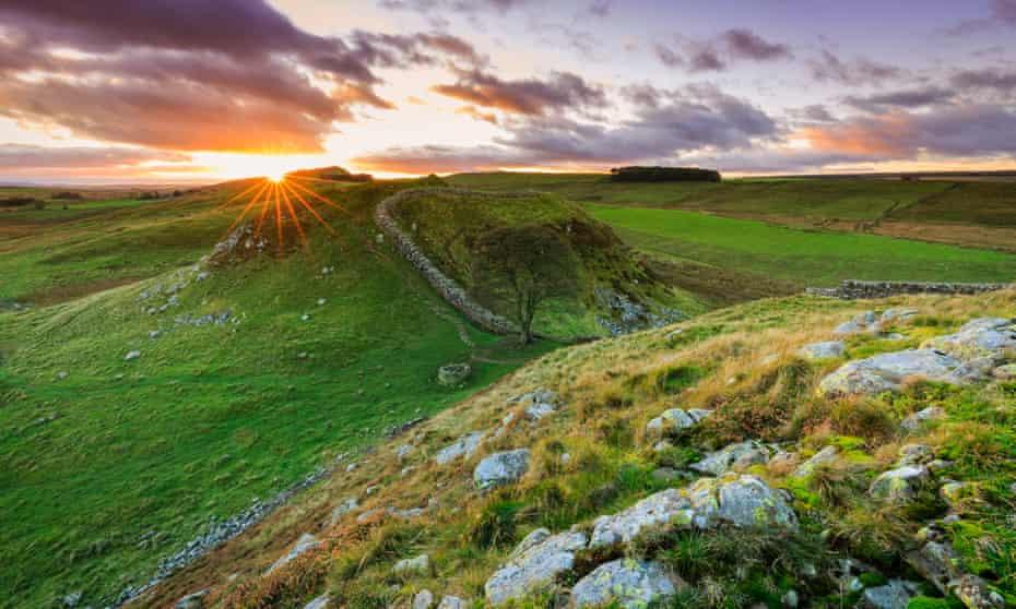 Sunset at Sycamore gap, Northumberland.