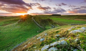 Sunset over Hadrian's Wall at Sycamore gap, Northumberland.