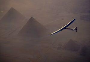 André Borschberg prepares to land in Cairo.