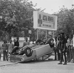 A car accident outside Accra Brewery.