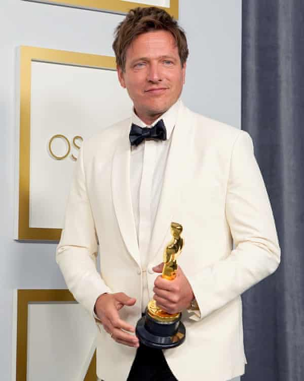 Vinterberg with his Oscar for best foreign language film.