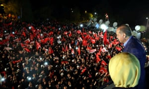 President Erdoğan addresses his supporters in Istanbul, after declaring victory in Turkey's referendum.