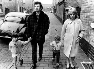 Still from film Cathy Come Home, showing Sean King as Sean, Ray Brooks as Reg, Stephen King as Stephen and Carol White as Cathy