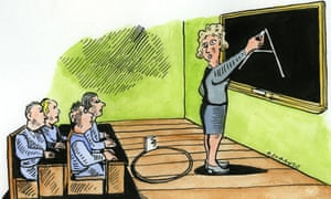 Illustration of teaching assistant at blackboard with floor being cut from beneath her, by Andrzej Krauze